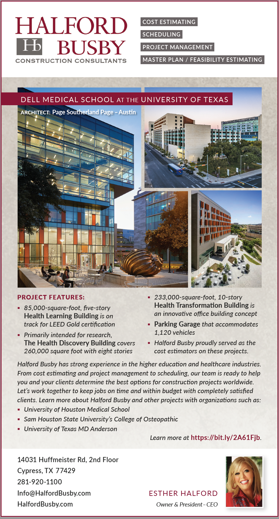 Halford Busby ad in Texas Architect magazine - July August 2020