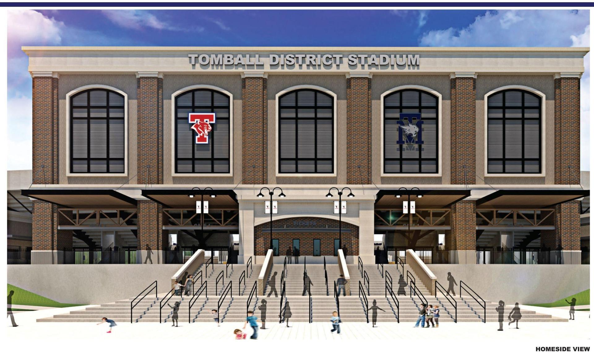 Drawing of Tomball ISD's stadium on which Halford Busby provided a schematic design estimate and a design development estimate